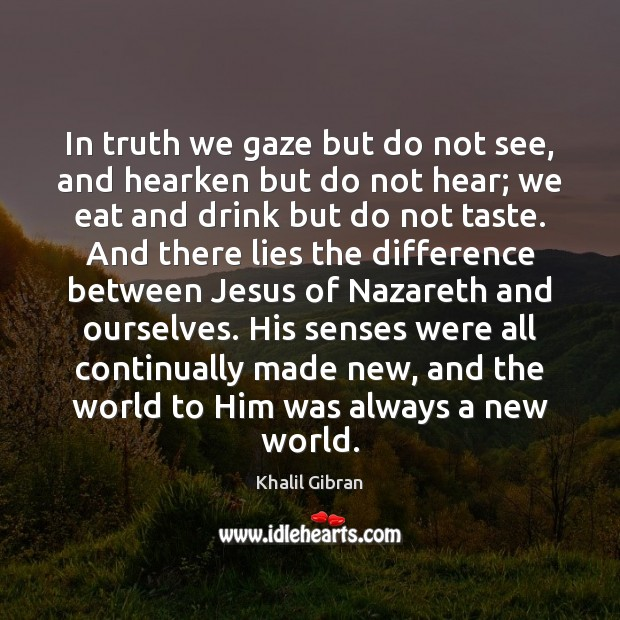 In truth we gaze but do not see, and hearken but do Image