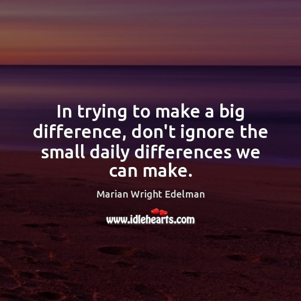 In trying to make a big difference, don't ignore the small daily differences we can make. Marian Wright Edelman Picture Quote