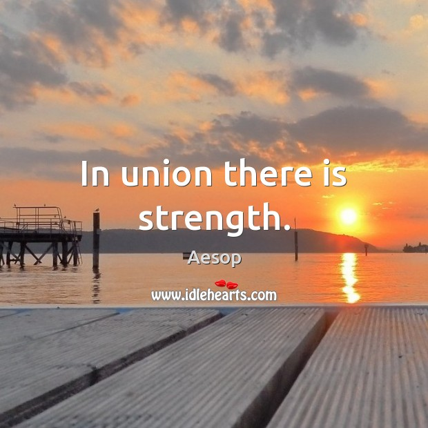 In union there is strength. Union Quotes Image