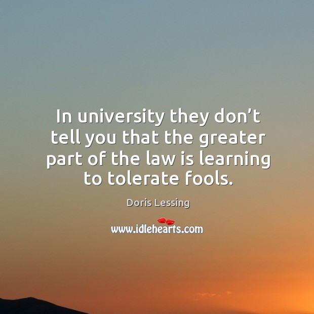 In university they don't tell you that the greater part of the law is learning to tolerate fools. Doris Lessing Picture Quote