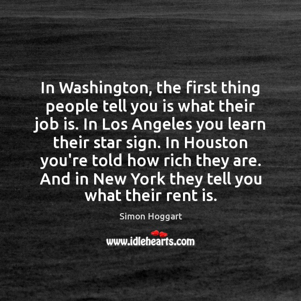 In Washington, the first thing people tell you is what their job Image
