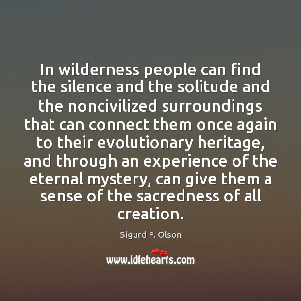 In wilderness people can find the silence and the solitude and the Image