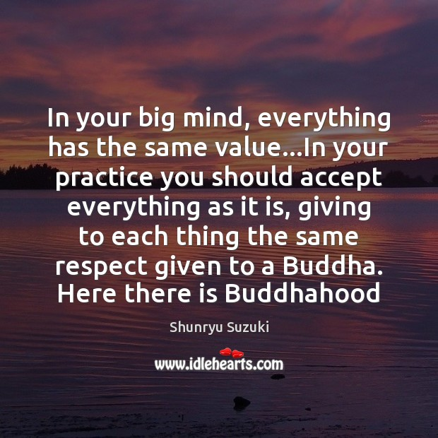 Image, In your big mind, everything has the same value…In your practice
