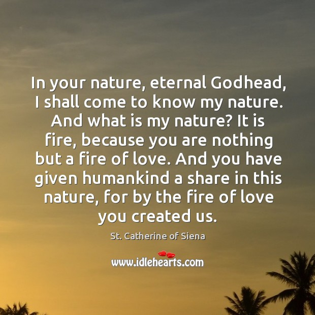 In your nature, eternal Godhead, I shall come to know my nature. Image