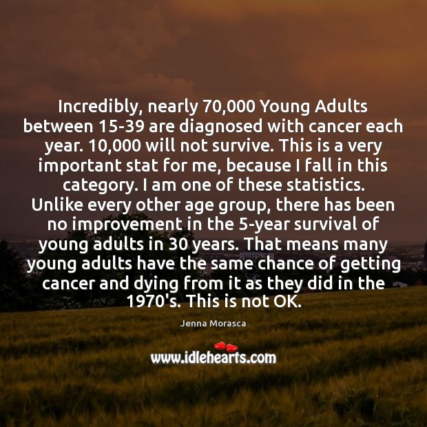 Image, Incredibly, nearly 70,000 Young Adults between 15-39 are diagnosed with cancer each year. 10,000