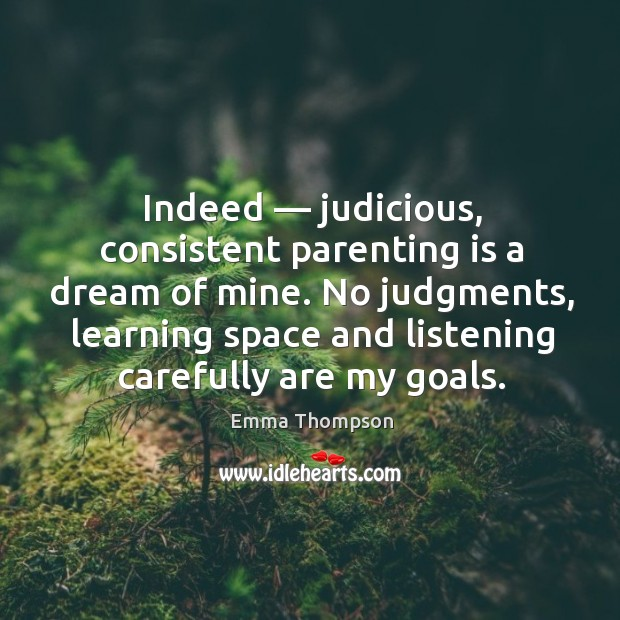 Indeed — judicious, consistent parenting is a dream of mine. No judgments, learning space and listening carefully are my goals. Image