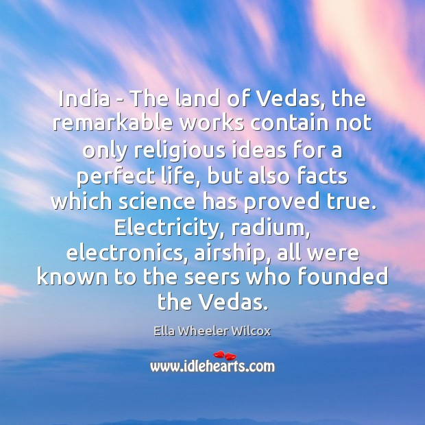 India – The land of Vedas, the remarkable works contain not only Image