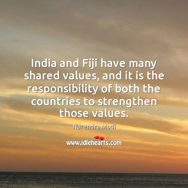 Image, India and Fiji have many shared values, and it is the responsibility