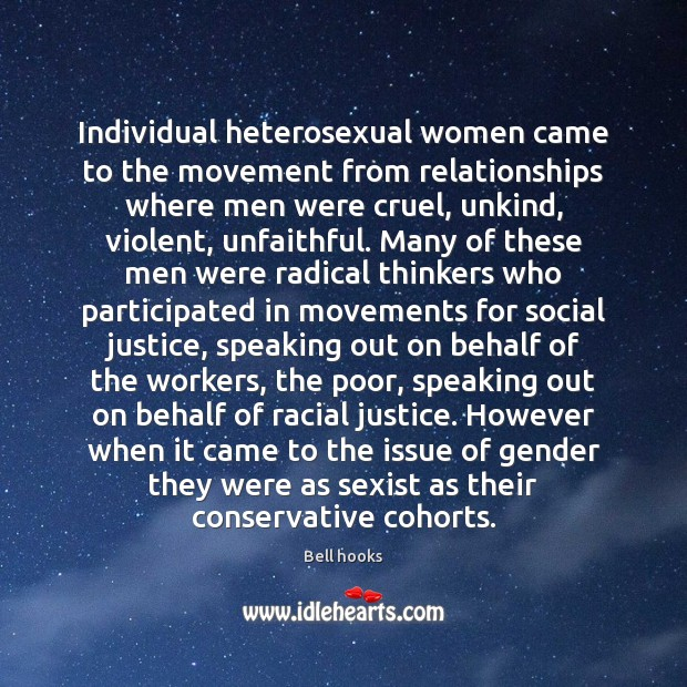 Image, Individual heterosexual women came to the movement from relationships where men were