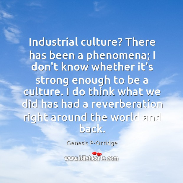 Industrial culture? There has been a phenomena; I don't know whether it's Image