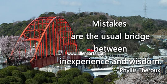 Image, Mistakes are the usual bridge between inexperience and wisdom.