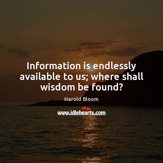 Image, Information is endlessly available to us; where shall wisdom be found?