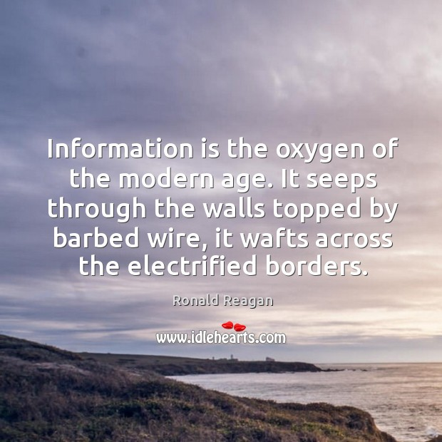 Information is the oxygen of the modern age. Image