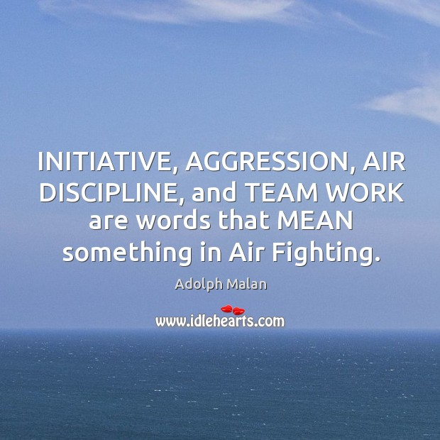 Image, INITIATIVE, AGGRESSION, AIR DISCIPLINE, and TEAM WORK are words that MEAN something