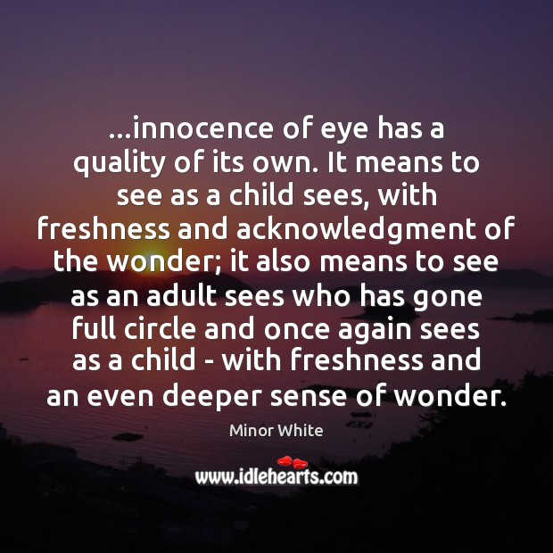 Image, …innocence of eye has a quality of its own. It means to