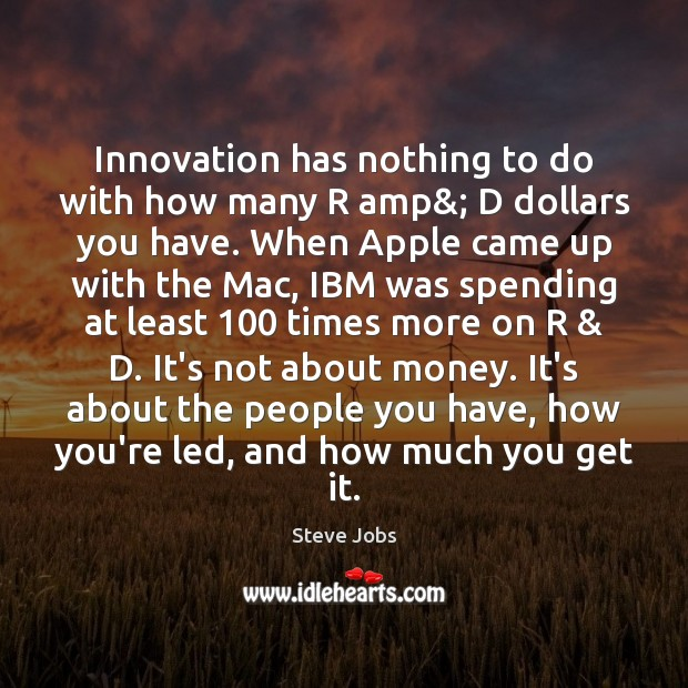Innovation has nothing to do with how many R amp&; D dollars Image