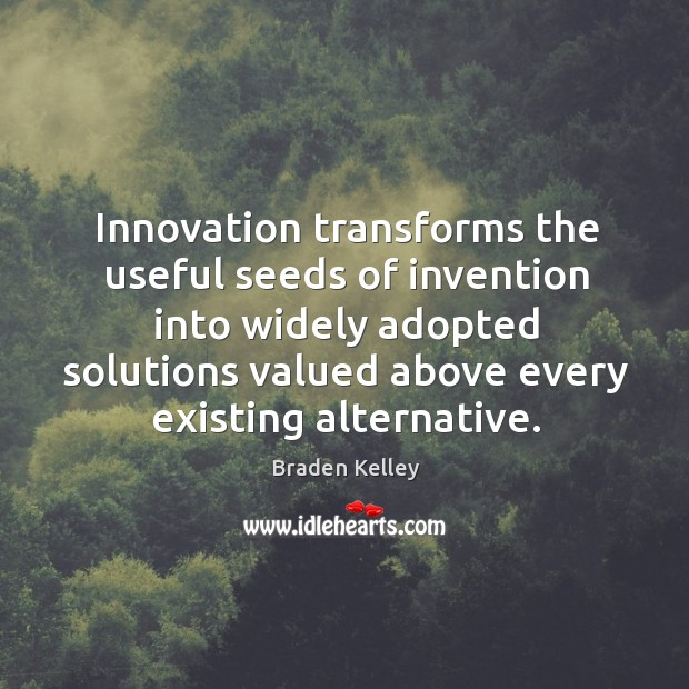 Image, Innovation transforms the useful seeds of invention into widely adopted solutions valued
