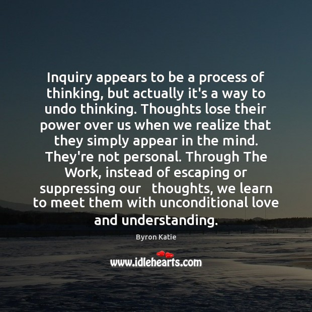 Inquiry appears to be a process of thinking, but actually it's a Byron Katie Picture Quote