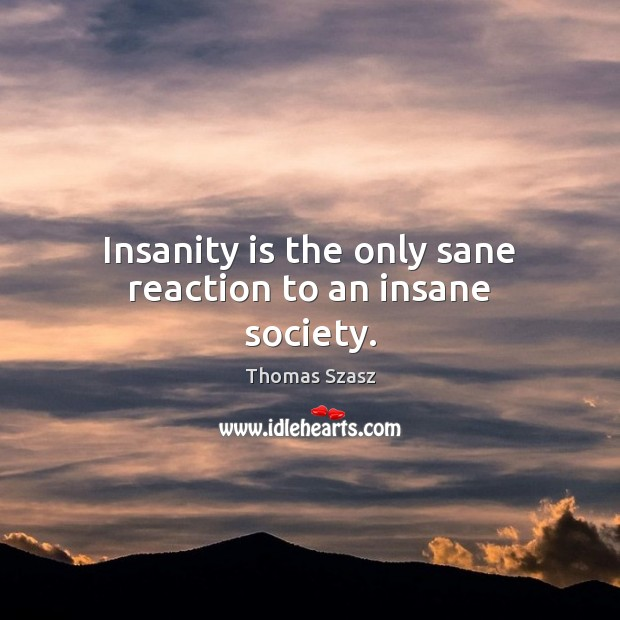 Insanity is the only sane reaction to an insane society. Image