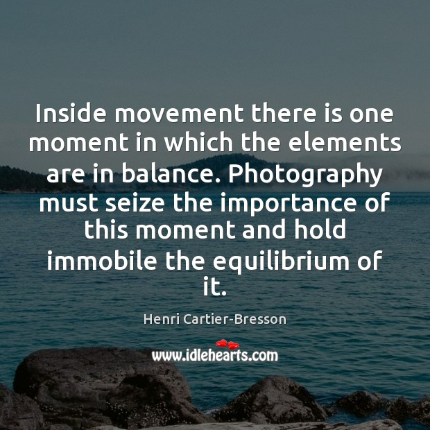 Inside movement there is one moment in which the elements are in Henri Cartier-Bresson Picture Quote