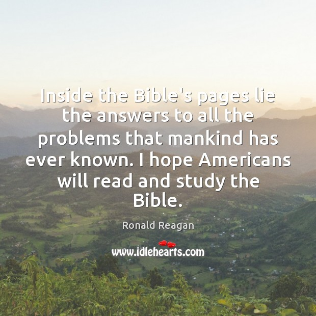 Inside the Bible's pages lie the answers to all the problems that Image
