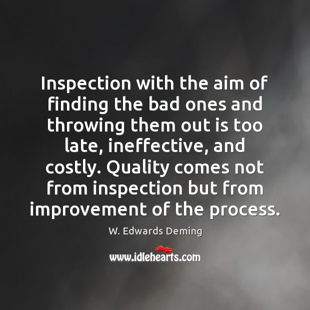 Inspection with the aim of finding the bad ones and throwing them W. Edwards Deming Picture Quote