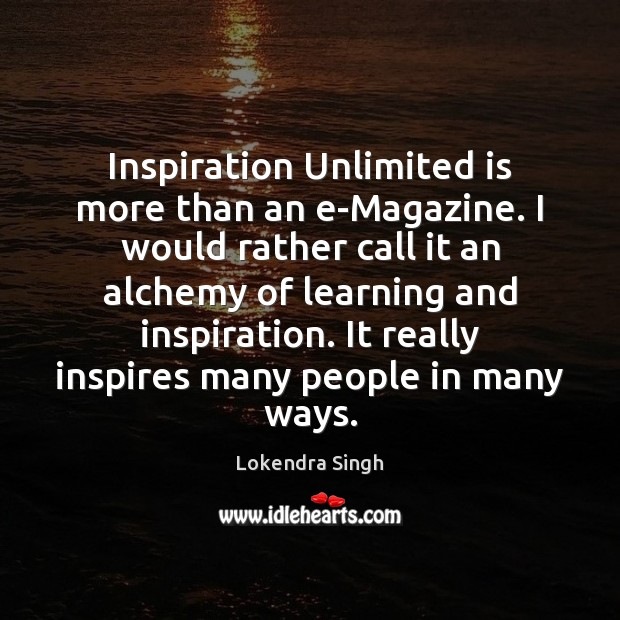 Inspiration Unlimited is more than an e-Magazine. I would rather call it Image