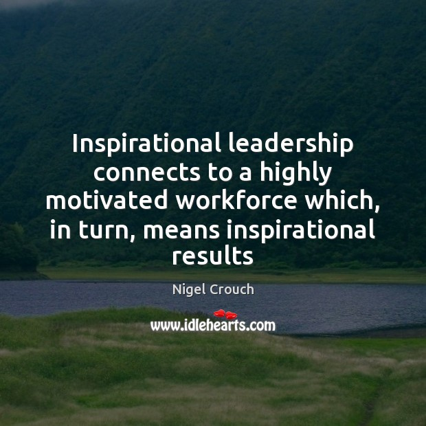 Inspirational leadership connects to a highly motivated workforce which, in turn, means Image