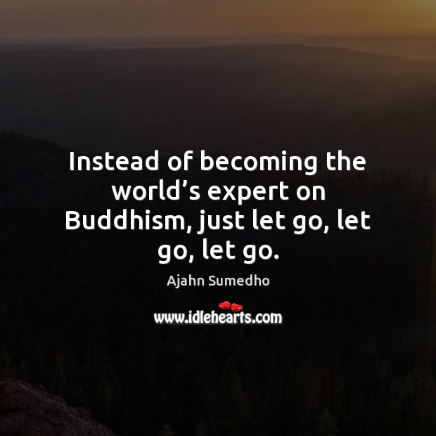 Image, Instead of becoming the world's expert on Buddhism, just let go, let go, let go.