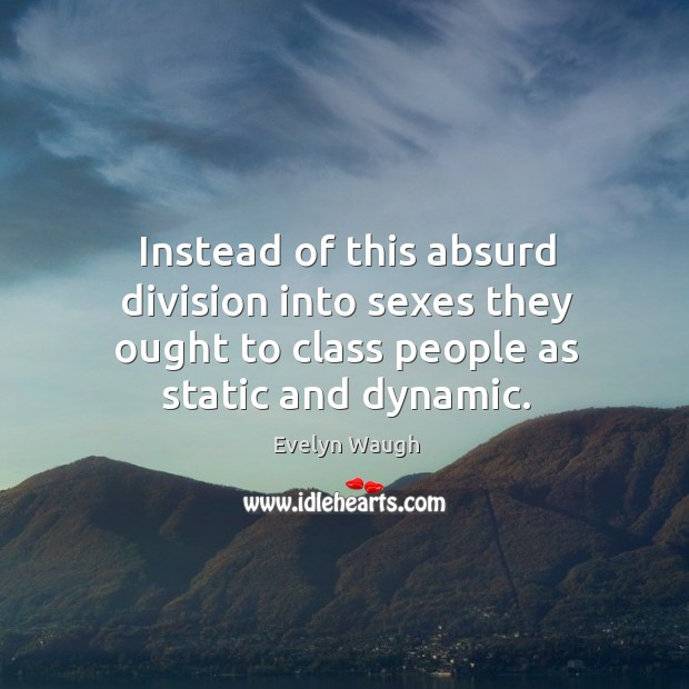 Instead of this absurd division into sexes they ought to class people as static and dynamic. Image