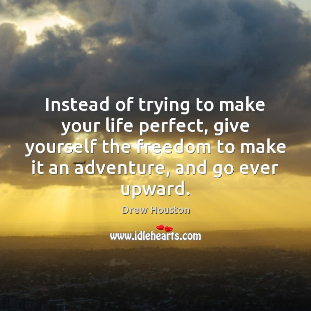 Instead of trying to make your life perfect, give yourself the freedom Drew Houston Picture Quote