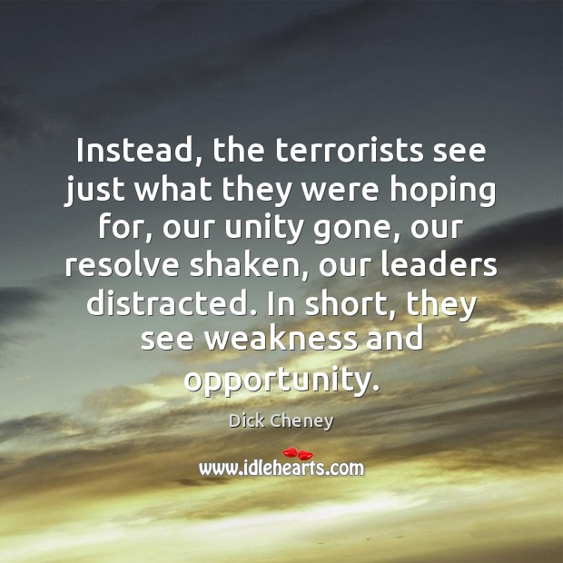 Instead, the terrorists see just what they were hoping for, our unity Dick Cheney Picture Quote