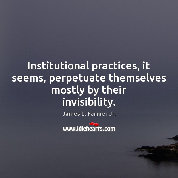 Institutional practices, it seems, perpetuate themselves mostly by their invisibility. Image
