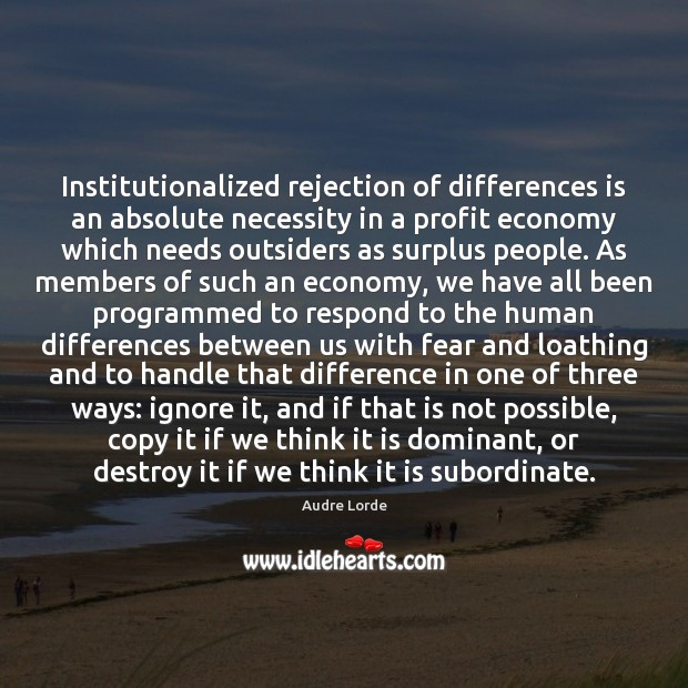 Institutionalized rejection of differences is an absolute necessity in a profit economy Audre Lorde Picture Quote