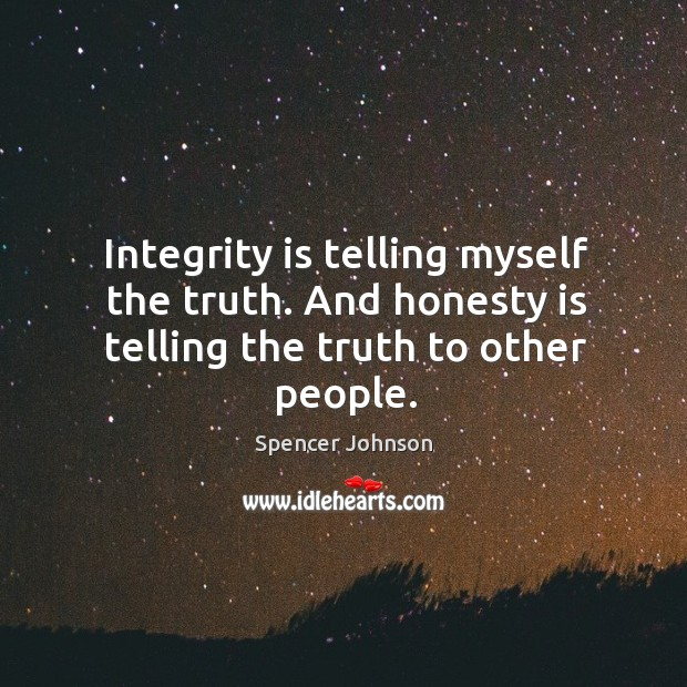 Integrity is telling myself the truth. And honesty is telling the truth to other people. Image
