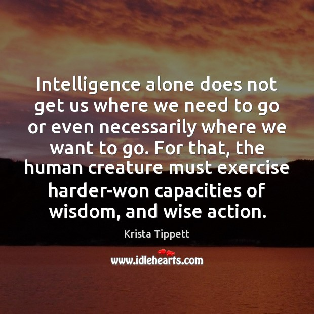 Intelligence alone does not get us where we need to go or Krista Tippett Picture Quote