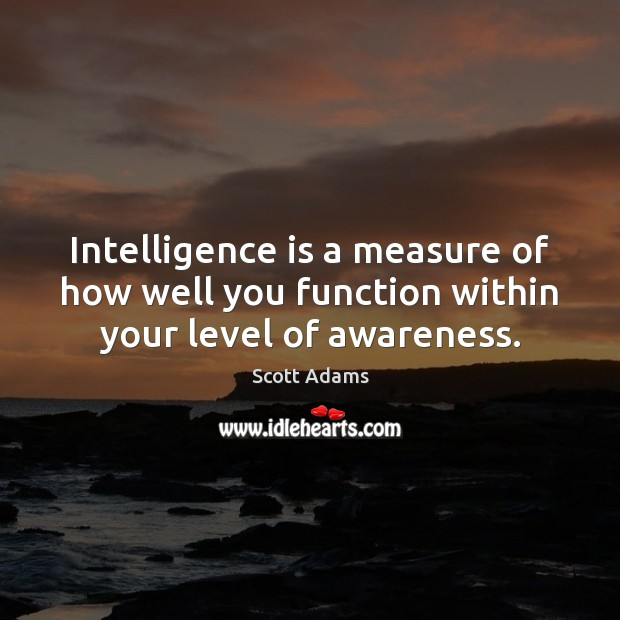 Intelligence is a measure of how well you function within your level of awareness. Intelligence Quotes Image