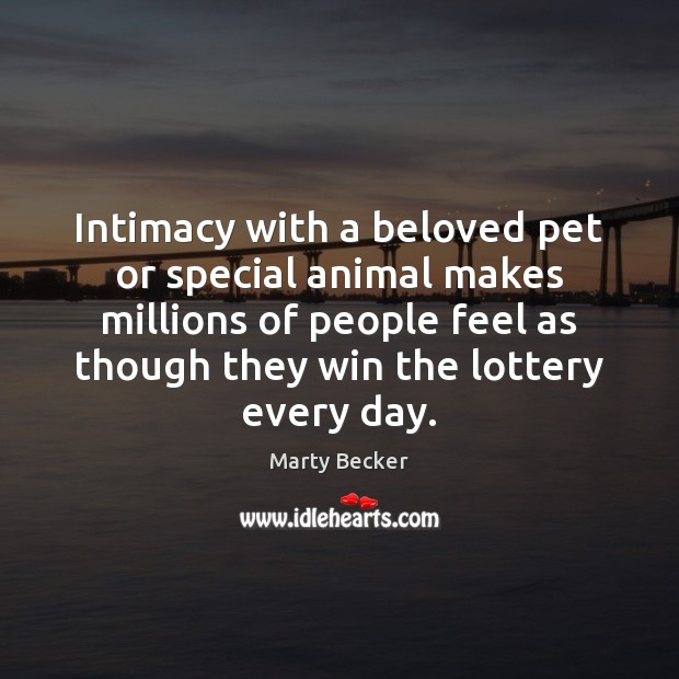 Intimacy with a beloved pet or special animal makes millions of people Image