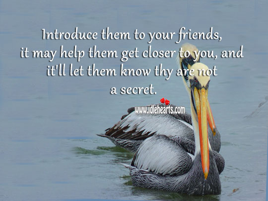 Introduce them to your friends, it may help them get closer to you. Secret Quotes Image