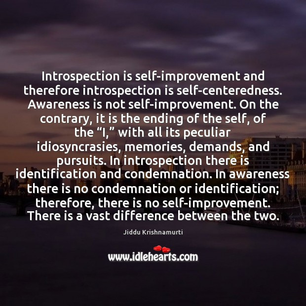 Image, Introspection is self-improvement and therefore introspection is self-centeredness. Awareness is not self-improvement.