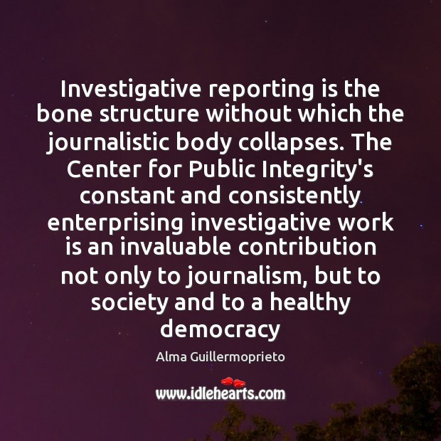 Image, Investigative reporting is the bone structure without which the journalistic body collapses.