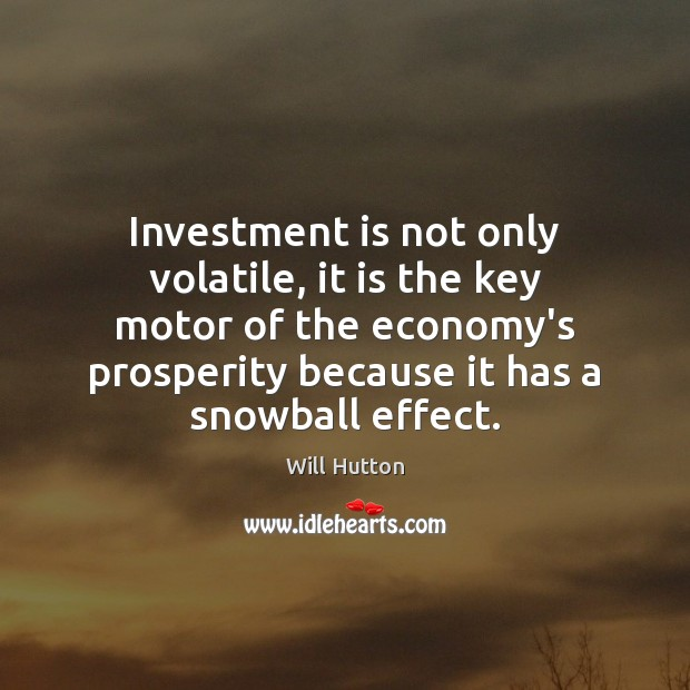 Investment is not only volatile, it is the key motor of the Investment Quotes Image