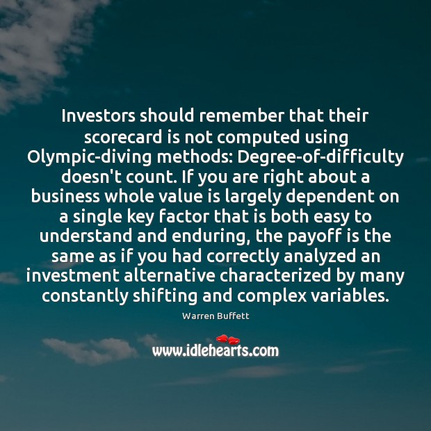Image, Investors should remember that their scorecard is not computed using Olympic-diving methods: