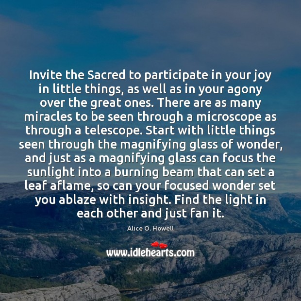 Image, Invite the Sacred to participate in your joy in little things, as