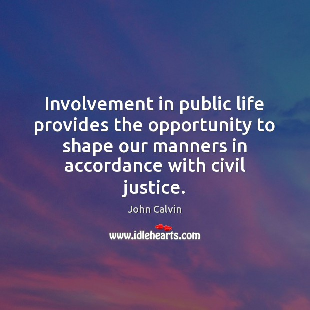 Involvement in public life provides the opportunity to shape our manners in John Calvin Picture Quote