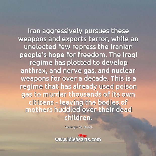 Iran aggressively pursues these weapons and exports terror, while an unelected few Image