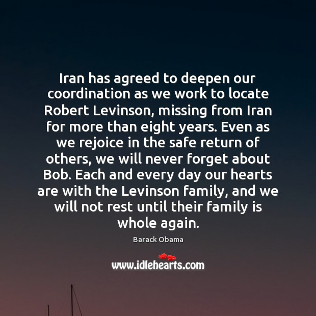Iran has agreed to deepen our coordination as we work to locate Image