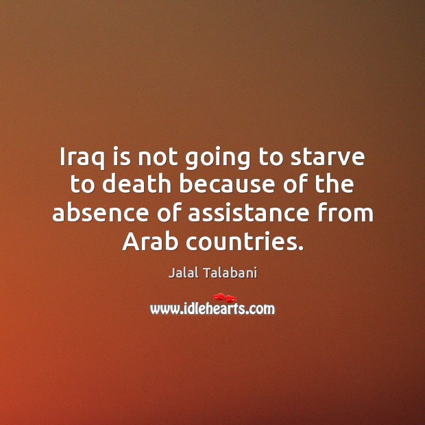 Image, Iraq is not going to starve to death because of the absence