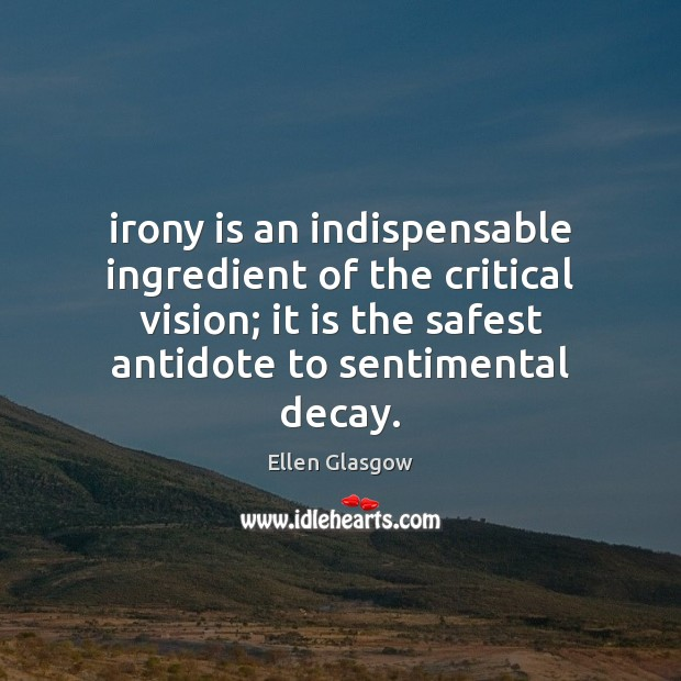 Irony is an indispensable ingredient of the critical vision; it is the Image
