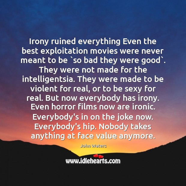 Irony ruined everything Even the best exploitation movies were never meant to John Waters Picture Quote